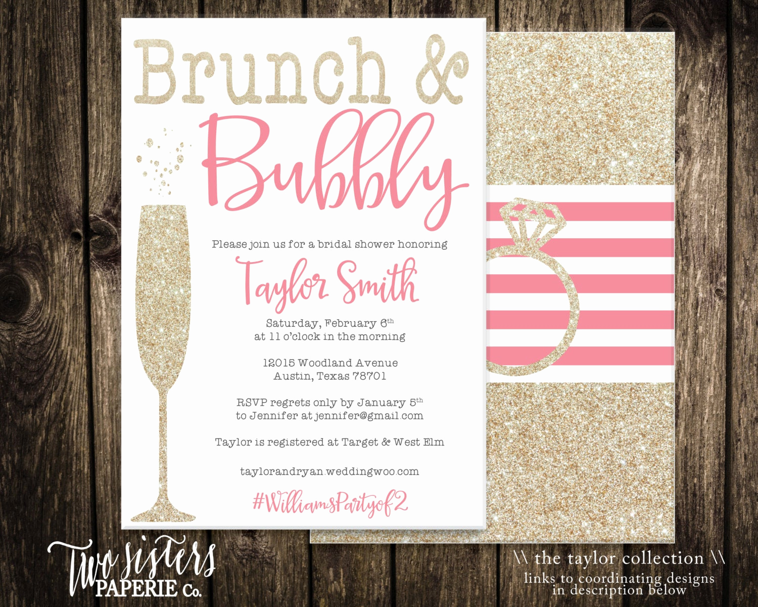 Bridal Shower Invitation Wording Luxury Brunch and Bubbly Bridal Shower Invitation by
