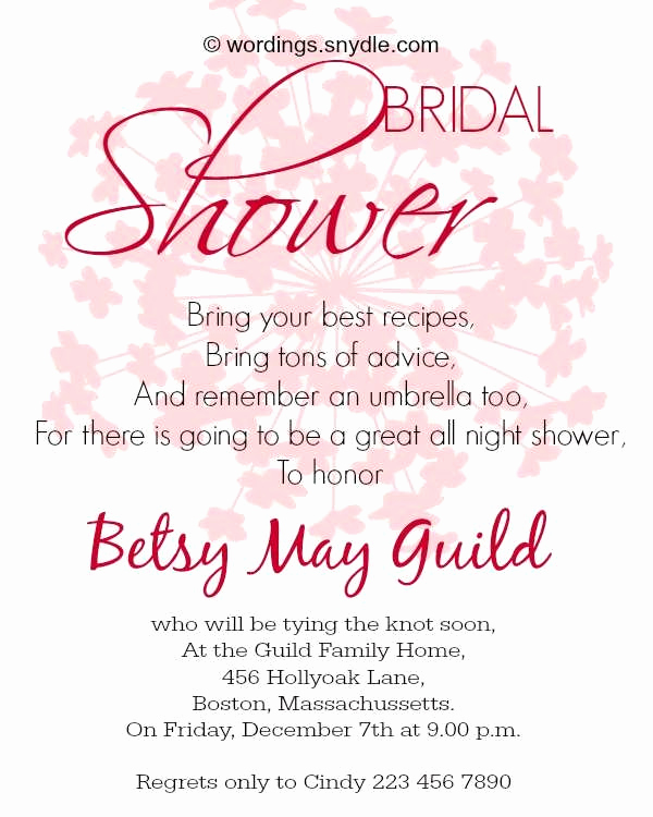 Bridal Shower Invitation Wording Unique Bridal Shower Wording