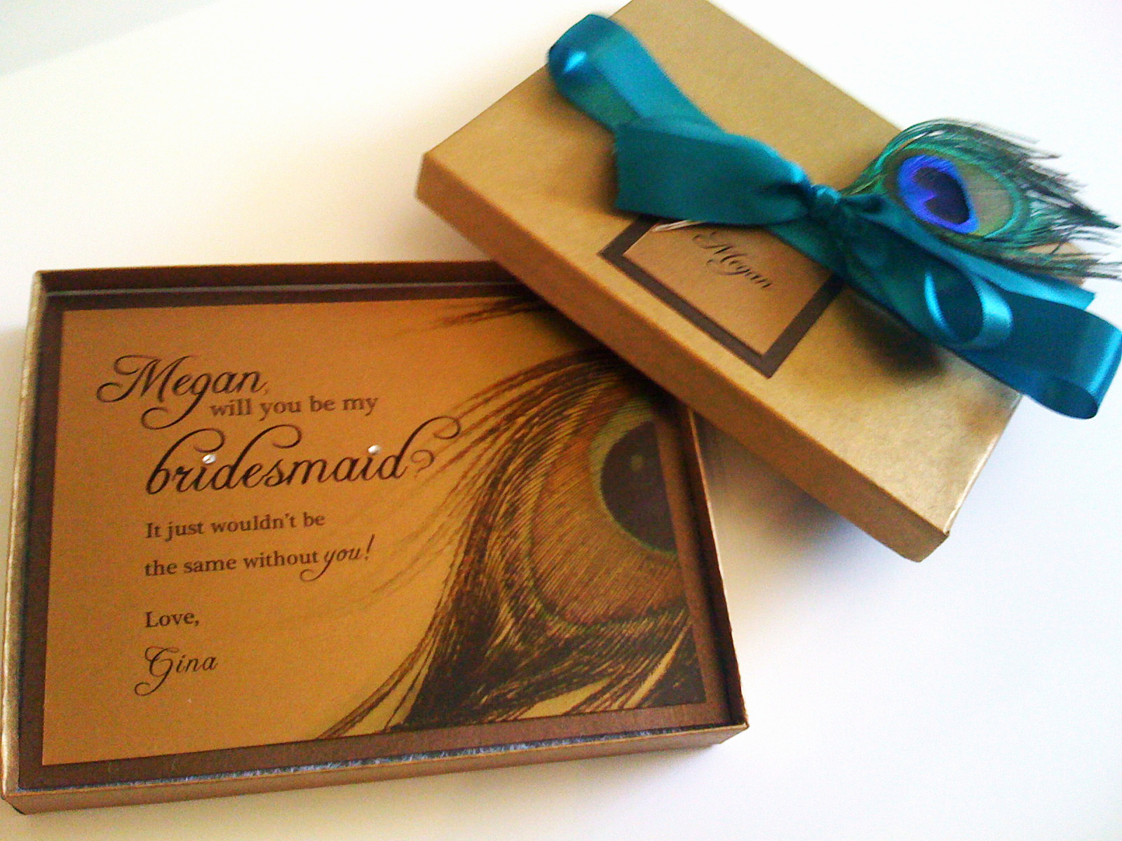 Bridesmaid Invitation Box Ideas Inspirational Peacock theme Wedding