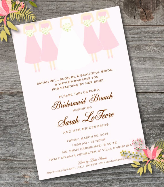 Bridesmaid Luncheon Invitation Wording Elegant Bridesmaid Brunch Invitation Printable Bridesmaid Luncheon