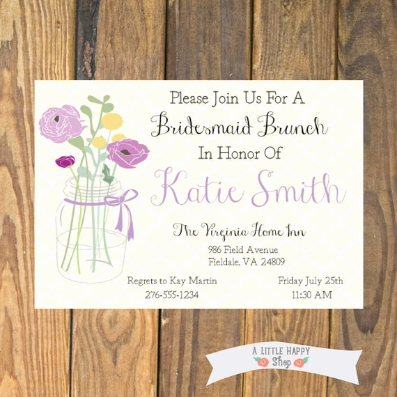 Bridesmaid Luncheon Invitation Wording Elegant Bridesmaid Luncheon Invitation Printable by Alittlehappyshop