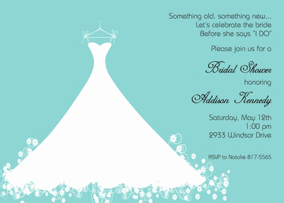 Bridesmaid Luncheon Invitation Wording Fresh Bridal Shower Invitation Aqua Blue Wedding Gown Printed