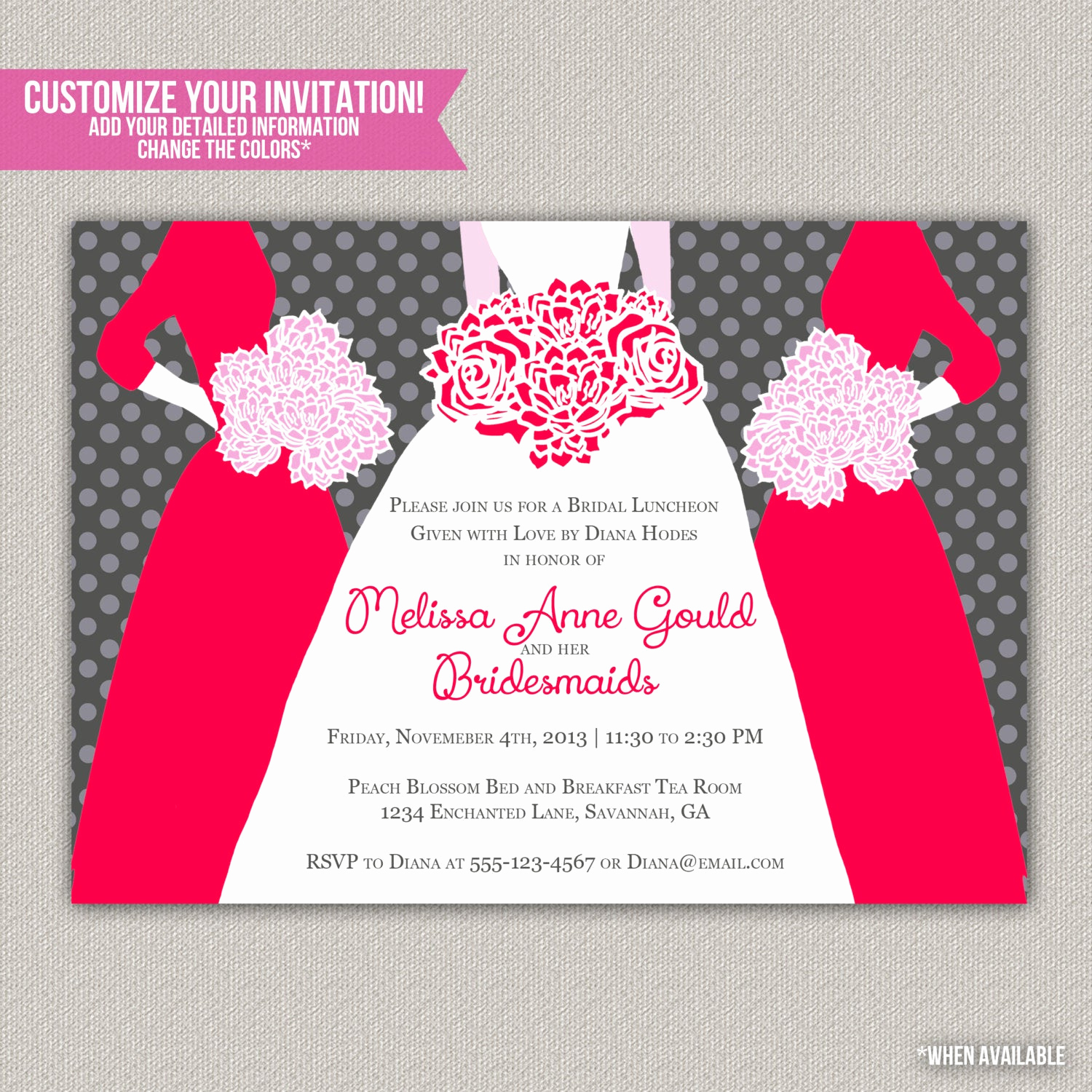 Bridesmaid Luncheon Invitation Wording Fresh Bridesmaid S Luncheon Invitation Custom by Enchanteddesigns4u