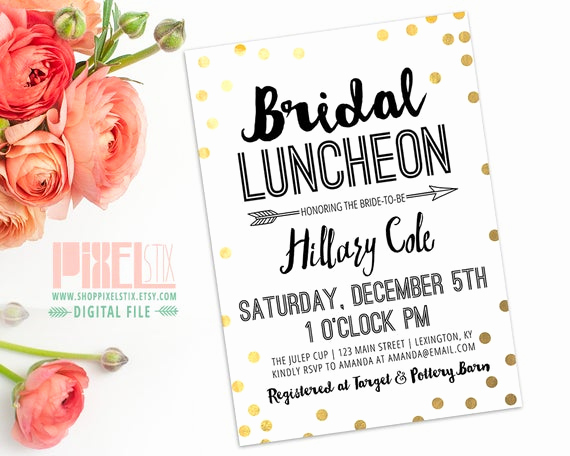 Bridesmaid Luncheon Invitation Wording Fresh Items Similar to Bridal Luncheon Invitation Confetti