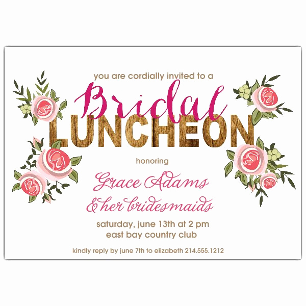 Bridesmaid Luncheon Invitation Wording Fresh Rustic Roses Bridal Luncheon Invitation