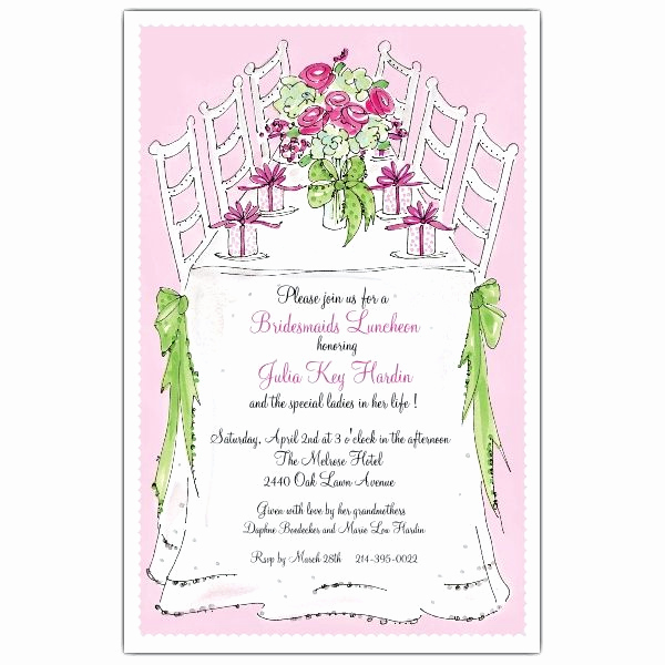 Bridesmaid Luncheon Invitation Wording Luxury Bridesmaids Luncheon Invitations Paperstyle