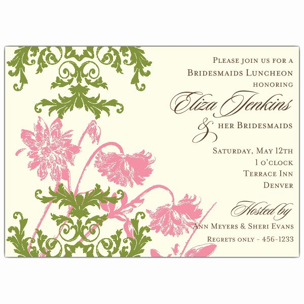 Bridesmaid Luncheon Invitation Wording New Floral Lace Pink and Green Bridesmaids Luncheon