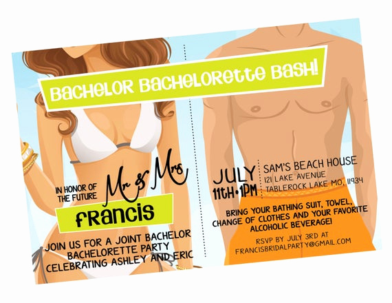 Bring Your Swimsuit Invitation Awesome Beach Bikini Tiki Bachelor Bachelorette Party Invitation