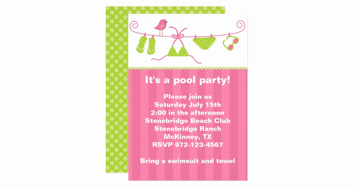 Bring Your Swimsuit Invitation Awesome Summertime Pink and Green Bathing Suit Invitation