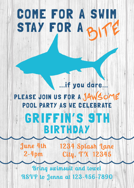 Bring Your Swimsuit Invitation Elegant Shark Birthday Invitation Swim Pool Party by