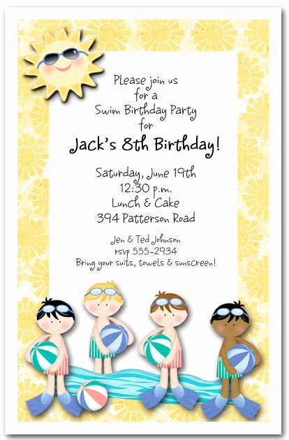 Bring Your Swimsuit Invitation Inspirational Boys Swim Time Party Invitation Pool Party Invitation