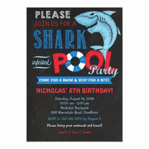 Bring Your Swimsuit Invitation Inspirational Shark Pool Party Invitation Shark Invitation