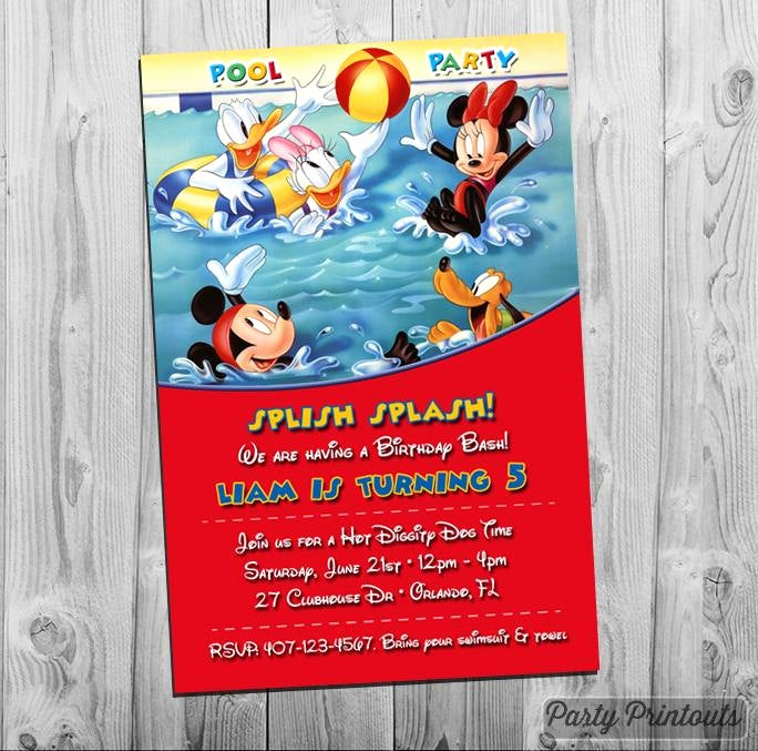 Bring Your Swimsuit Invitation Lovely Mickey Mouse Pool Party Invitation Printable Birthday Invite