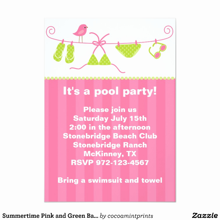 Bring Your Swimsuit Invitation Luxury Summertime Pink and Green Bathing Suit Invitation
