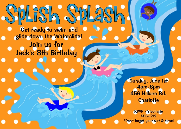 Bring Your Swimsuit Invitation Luxury Water Slide Birthday Party Invitations