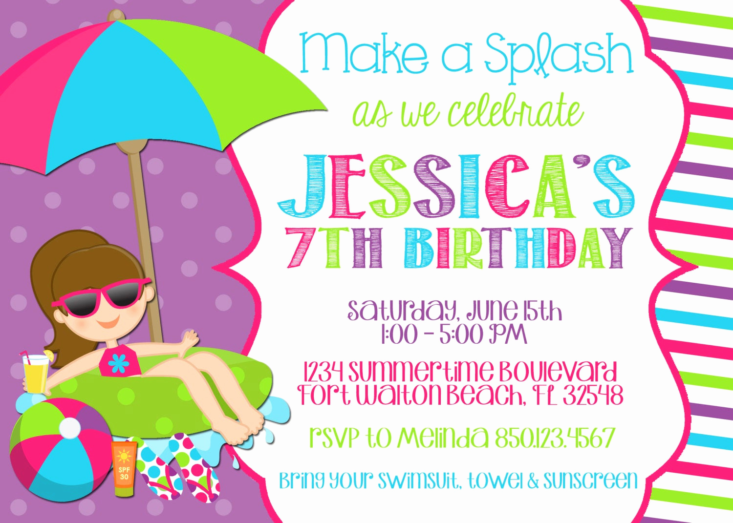 Bring Your Swimsuit Invitation New Swimming Pool 5x7 Invitation Girl Birthday Party Printable