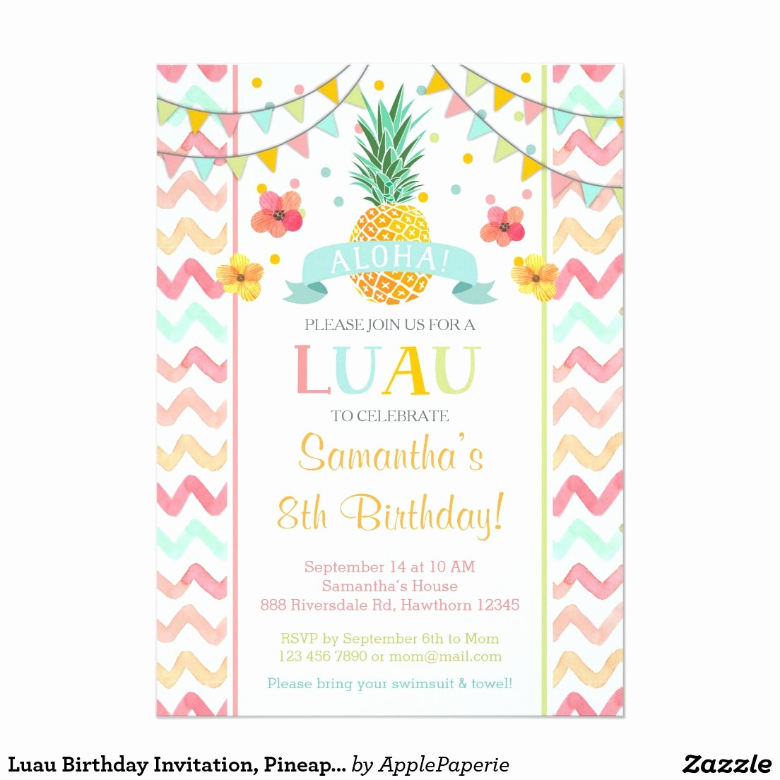 Bring Your Swimsuit Invitation Unique Luau Birthday Invitation Pineapple Invitation In 2019