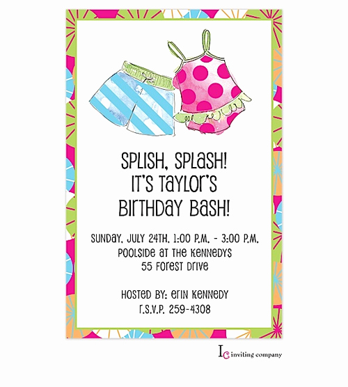 Bring Your Swimsuit Invitation Unique Pool Party Invitations Girl and Boy Summer Party Swim