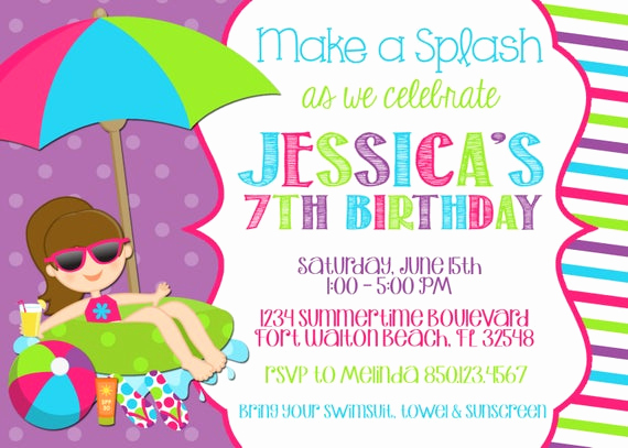 swimming pool 5x7 invitation girl