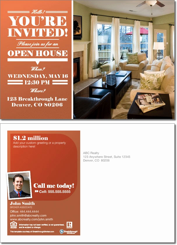 Broker Open House Invitation Beautiful Open House Invitation Postcard