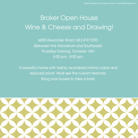 Broker Open House Invitation Elegant Wine and Cheese Open House Line Invitations & Cards by