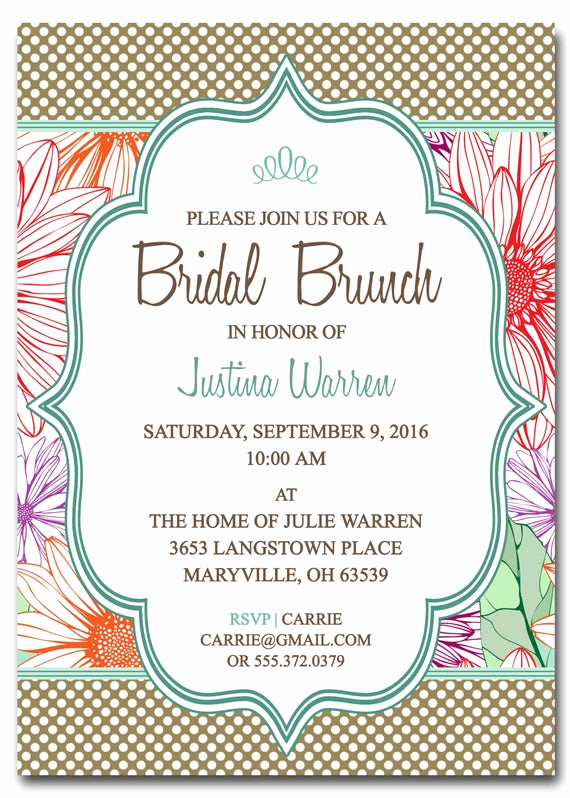 Brunch Invitation Wording Examples Awesome Bridal Shower Brunch Invitation Bridal Brunch Digital