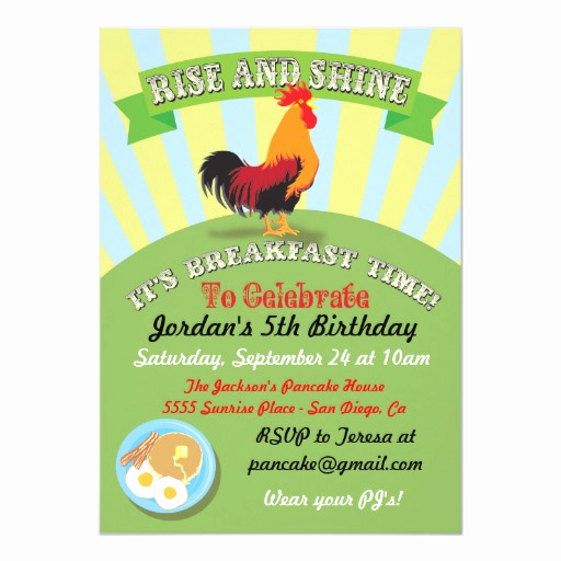 Brunch Invitation Wording Examples Beautiful Rise and Shine Breakfast Birthday Party Invitation
