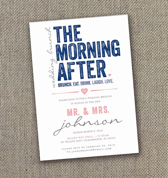 Brunch Invitation Wording Examples Best Of the Morning after Wedding Brunch Invitation Modern