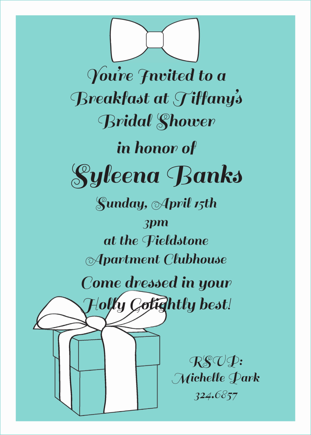 Brunch Invitation Wording Examples Elegant Breakfast at Tiffany S Invitation