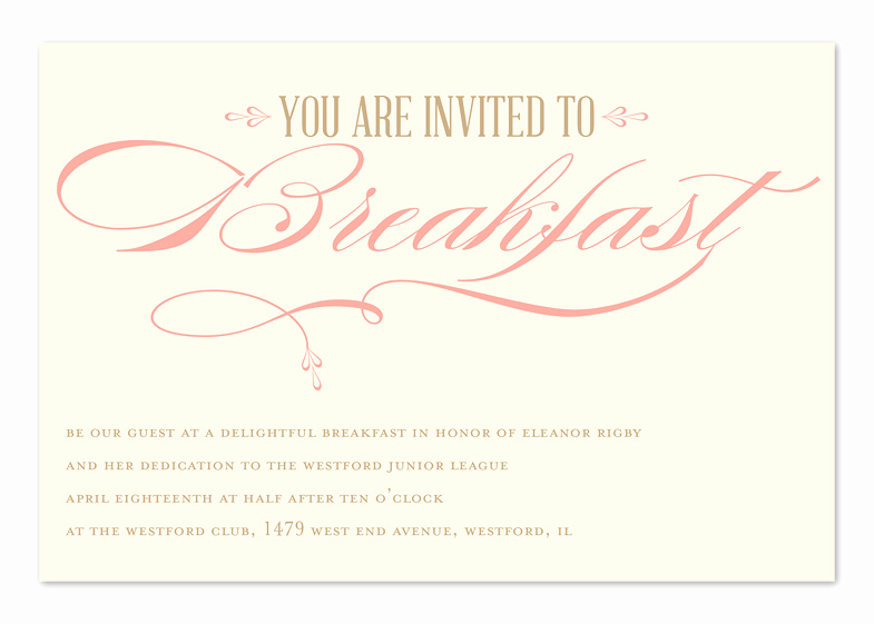 Brunch Invitation Wording Examples Inspirational Breakfast Elegance Corporate Invitations by Invitation