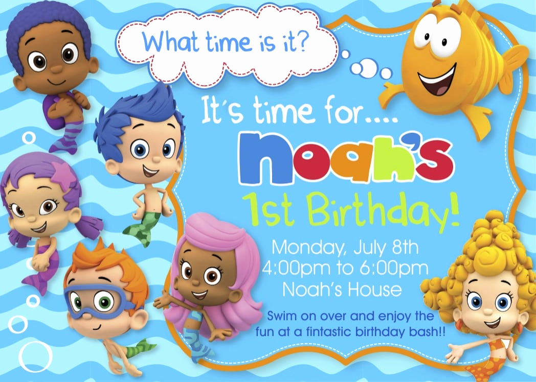 Bubble Guppies Invitation Template Free Awesome Bubble Guppy Birthday Invitations