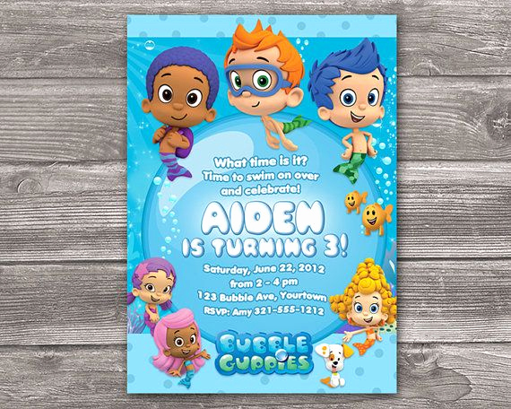 Bubble Guppies Invitation Template Free Beautiful Bubble Guppies Invitation for Birthday Party Diy Print