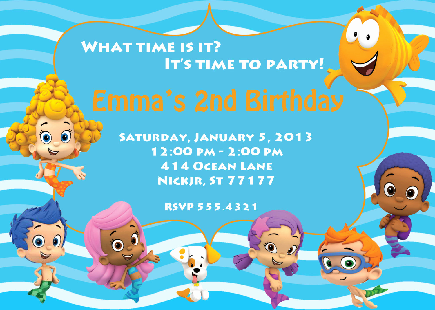 Bubble Guppies Invitation Template Free Fresh Bubble Guppies Birthday Party Invitations