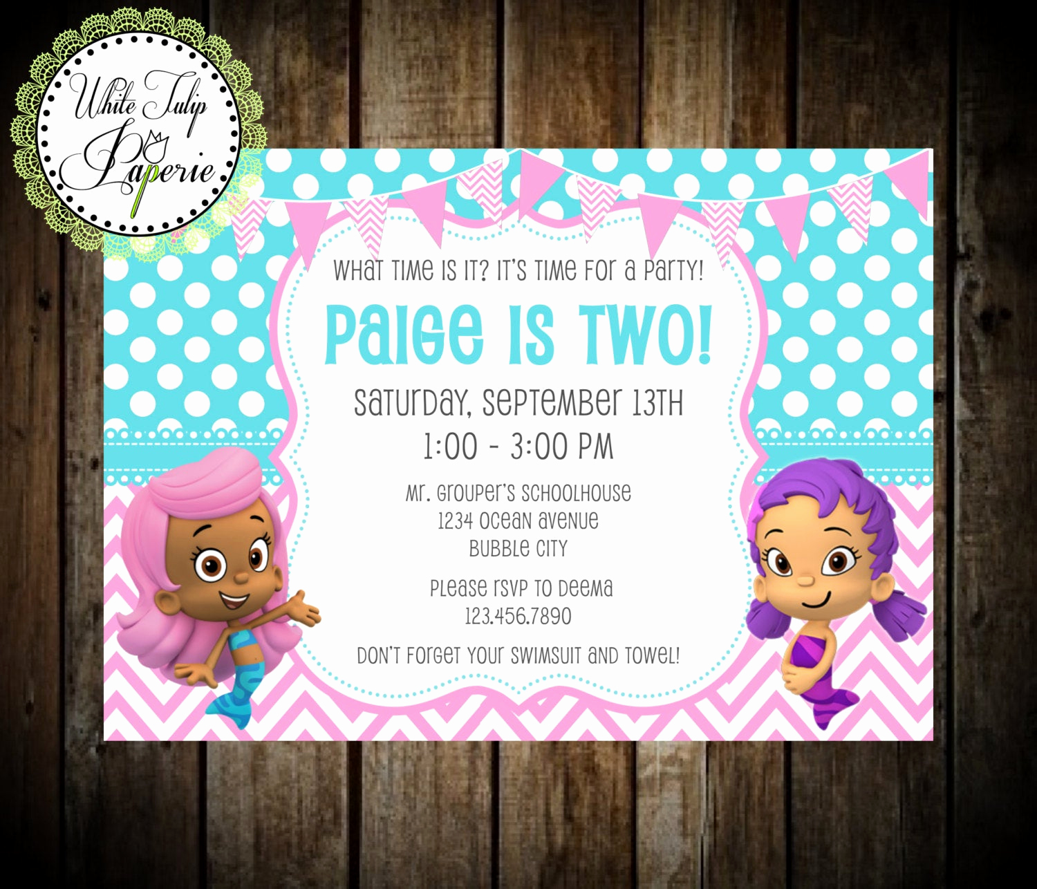 Bubble Guppies Invitation Template Free Inspirational Bubble Guppies Invitation Bubble Guppies by Whitetulippaperie