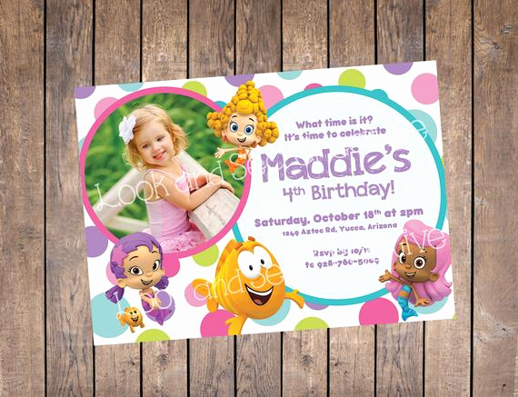 Bubble Guppies Invitation Template Free Unique Bubble Guppies Birthday Invitation Custom Digital File