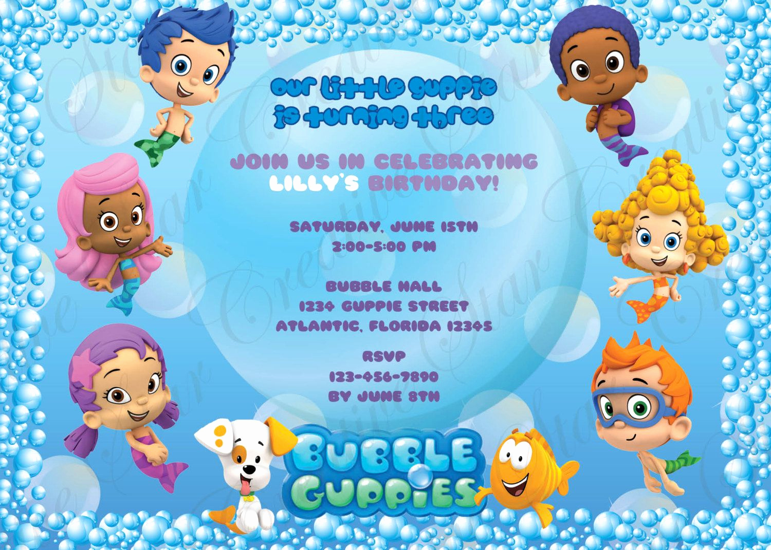 Bubble Guppies Invitation Template Free Unique Bubble Guppies Birthday Invitations Digital Print File Diy
