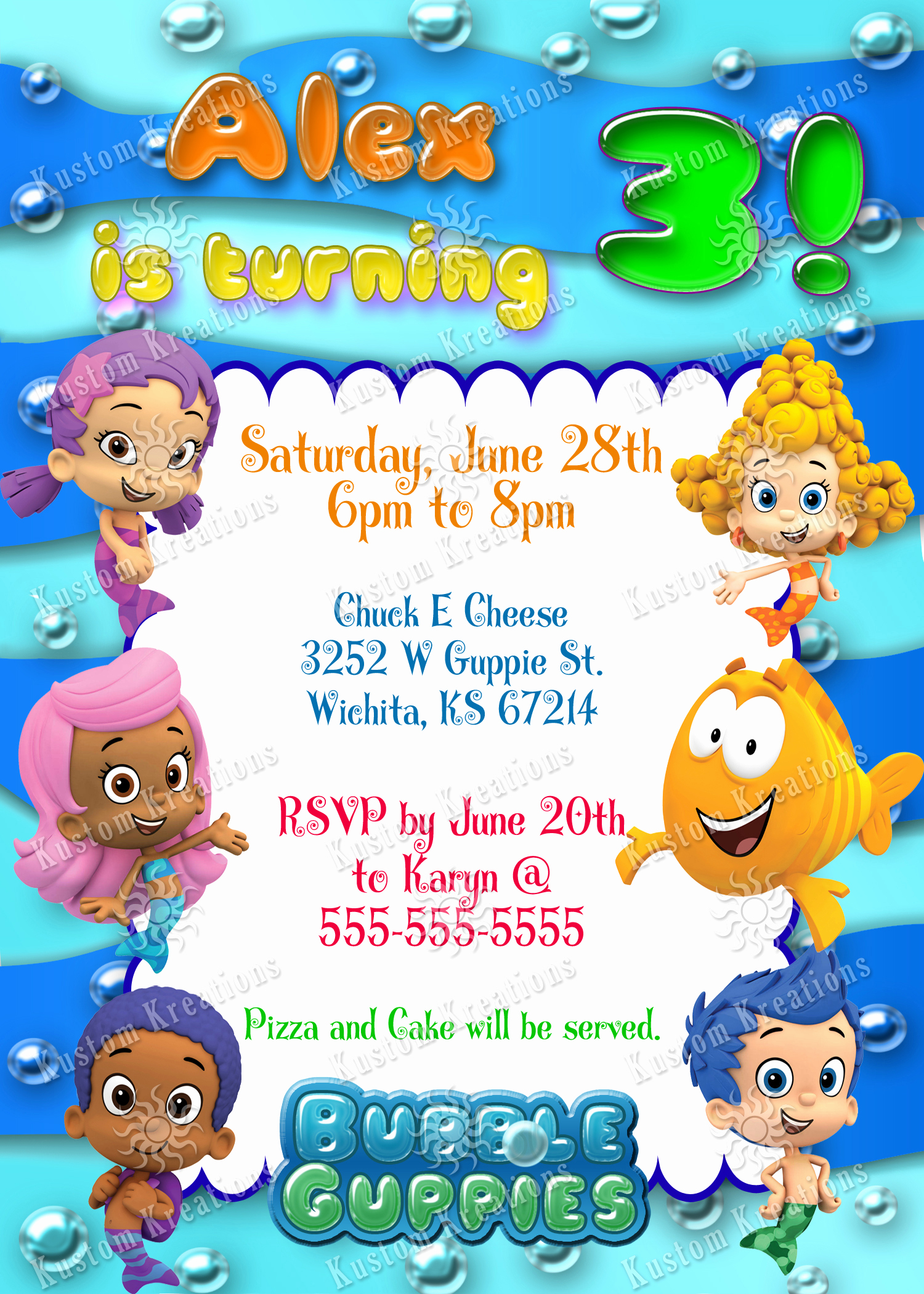 Bubble Guppies Invitation Template Free Unique Bubble Guppies Birthday Invitations