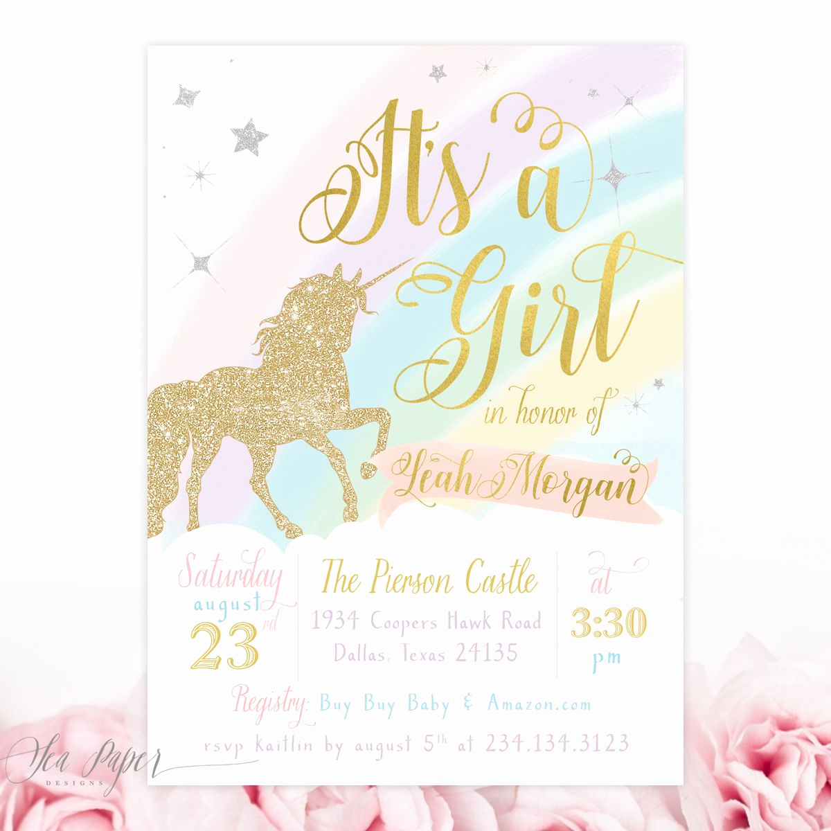 Business after Hours Invitation Awesome Unicorn Baby Girl Shower Invitation It S A Girl Baby