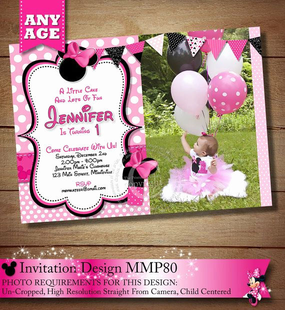 Business after Hours Invitation Beautiful Same Day Svc Pink Polka Dot Minnie Mouse Birthday