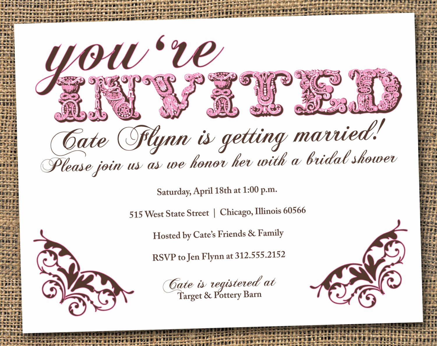 Business after Hours Invitation Inspirational Vintage Style Pink and Brown Bridal Shower by