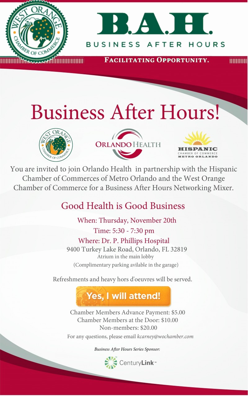 Business after Hours Invitation Unique Business after Hours at Dr P Phillips Hospital