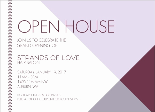 Business Open House Invitation Awesome Modern Lavender Business Open House Invitation