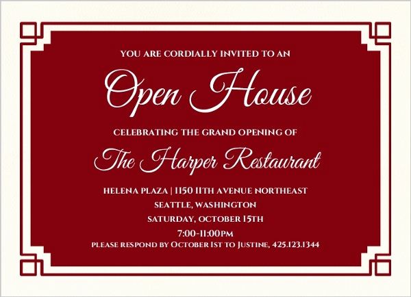 Business Open House Invitation Beautiful Red Geometric Border Corporate Open House Invitation