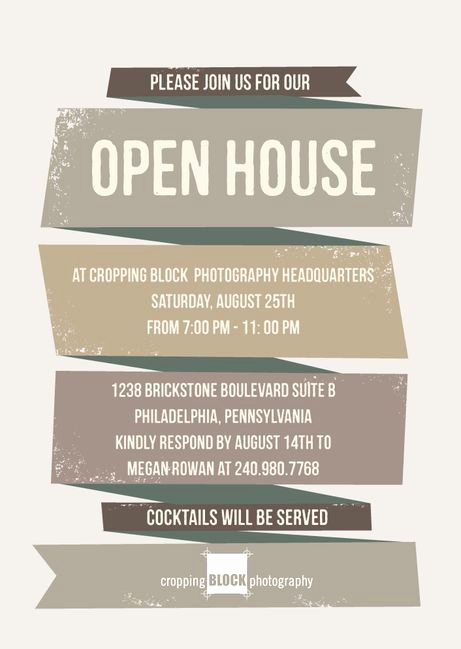 Business Open House Invitation Beautiful Rough Ribbon Corporate event Invitations In ash or Adobe