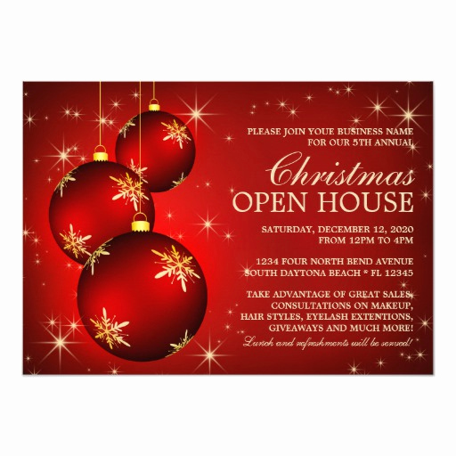 Business Open House Invitation Wording Awesome Business Christmas Open House Invitations