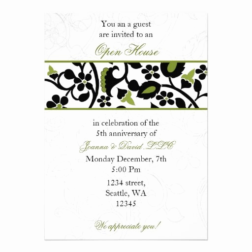 Business Open House Invitation Wording Beautiful Green Elegant Corporate Party Invitation