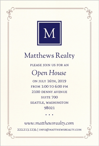 Business Open House Invitation Wording Elegant Monogram Business Open House Invitation