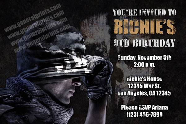 Call Of Duty Invitation Template Awesome Call Of Duty Invitations From General Prints