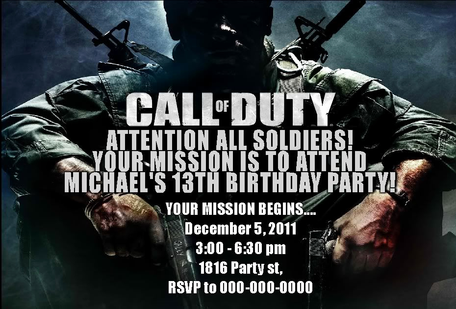 Call Of Duty Invitation Template Best Of Call Of Duty Party Supplies