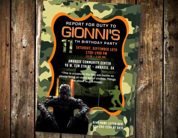 Call Of Duty Invitation Template Elegant Call Of Duty Camo Birthday Printable Invitation 5x7